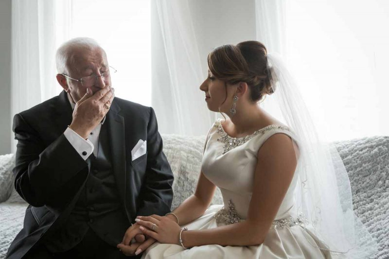 Bride with dad on her wedding day