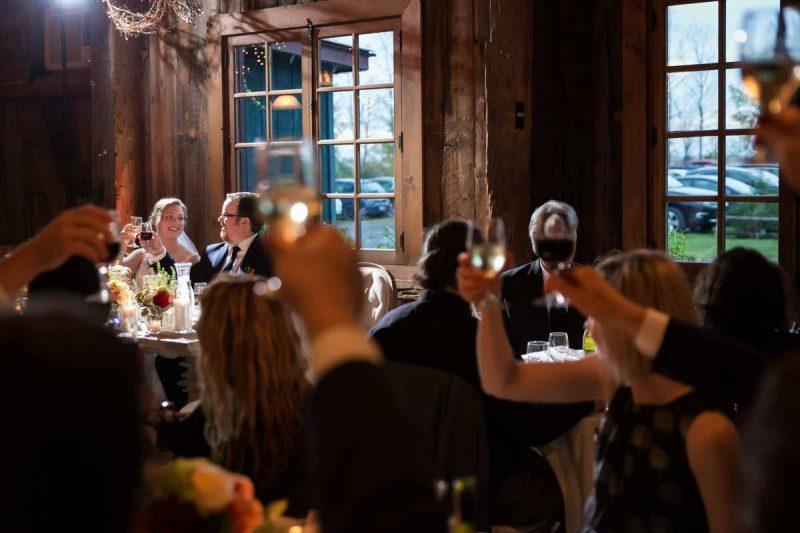 Pixelicious Erika and Simon Bergeries de l'Acadie wedding reception toast