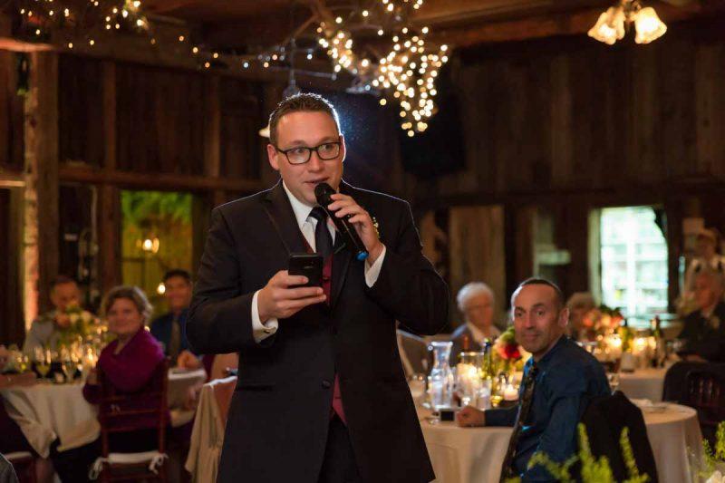 Pixelicious Erika and Simon Bergeries de l'Acadie wedding reception speech