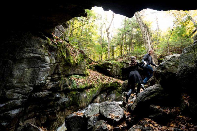 Pixelicious Gatineau Park engagement lusk cave