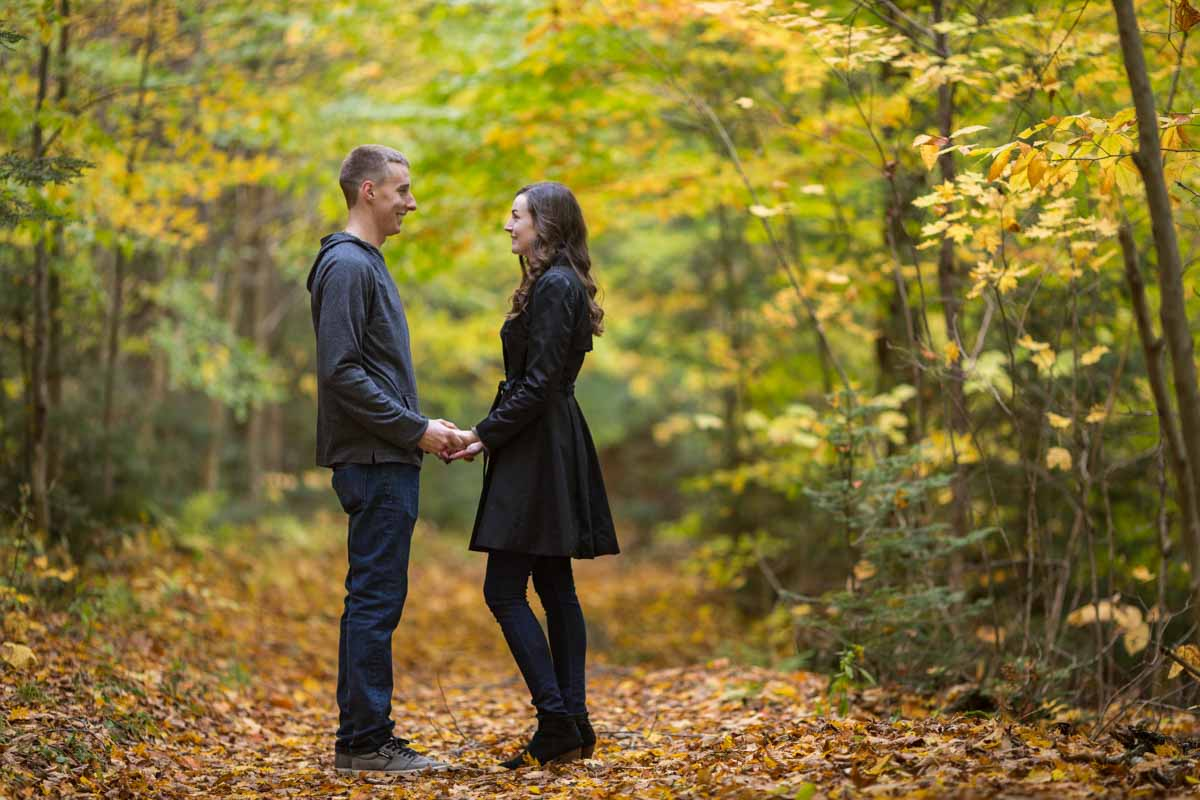 Pixelicious Gatineau Park engagement autumn leaves