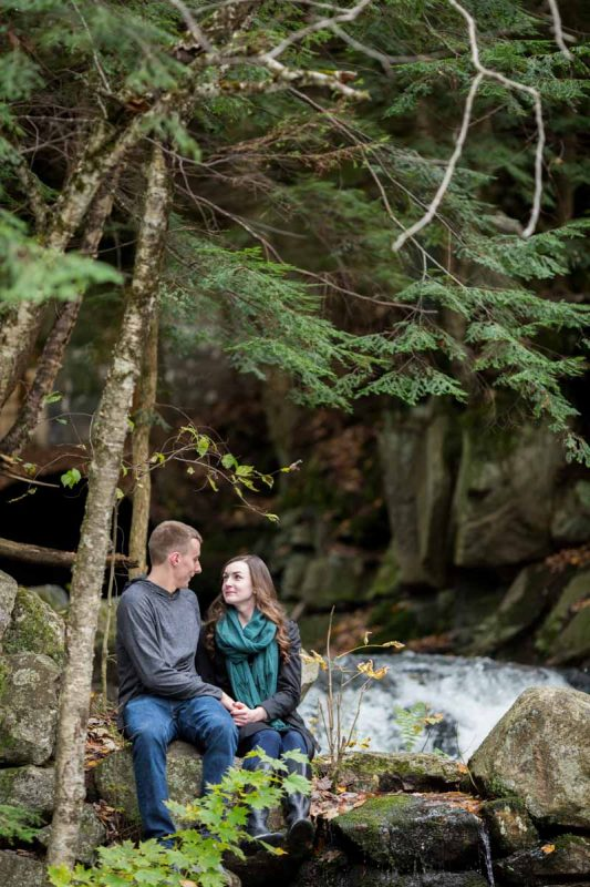 Pixelicious Gatineau Park engagement waterfalls