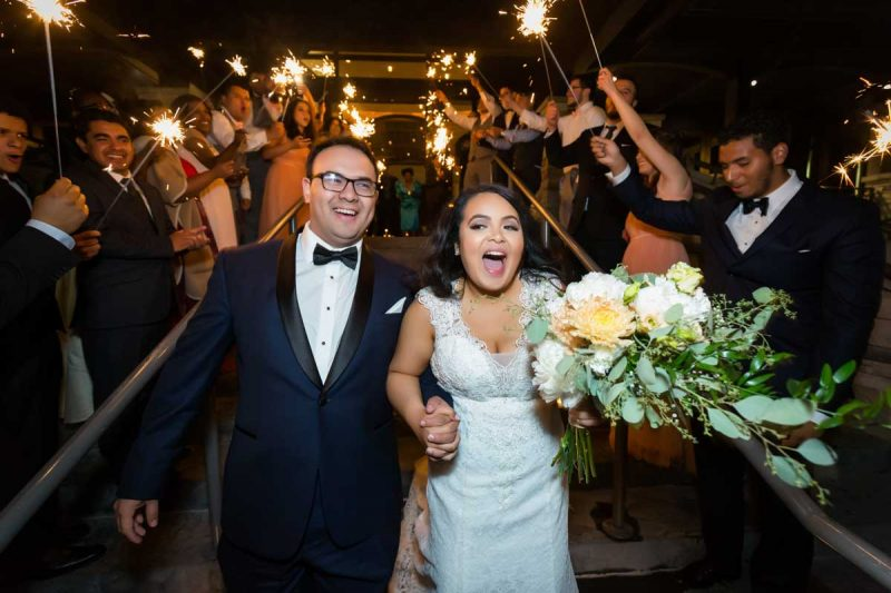 Sparklers exit after wedding