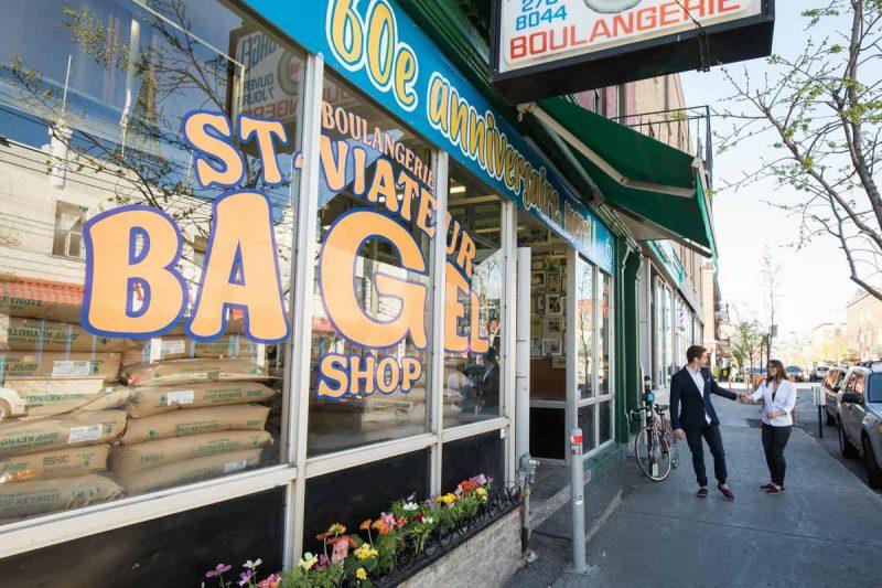Buying St-Viateur bagels in Montreal