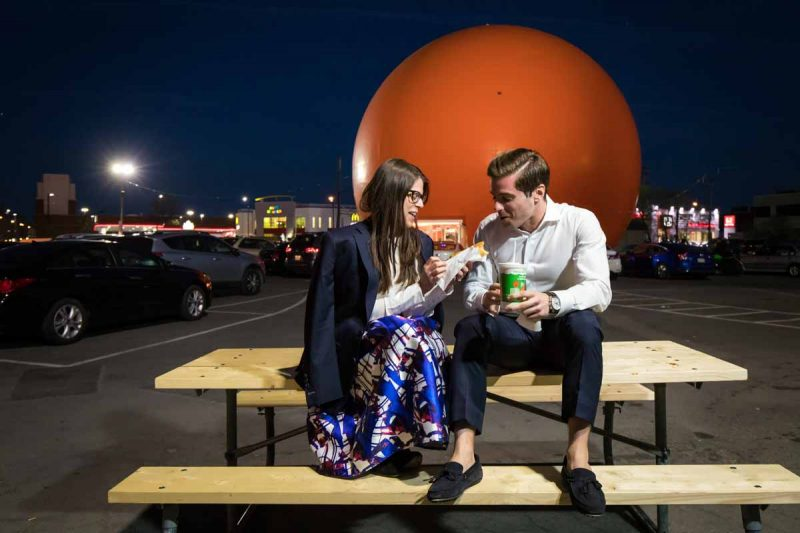Montreal engagement pictures drinking Gibeau Orange Julep juice
