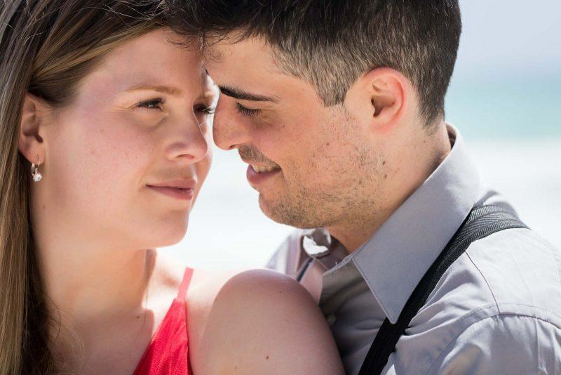 Closeup portrait of newlyweds