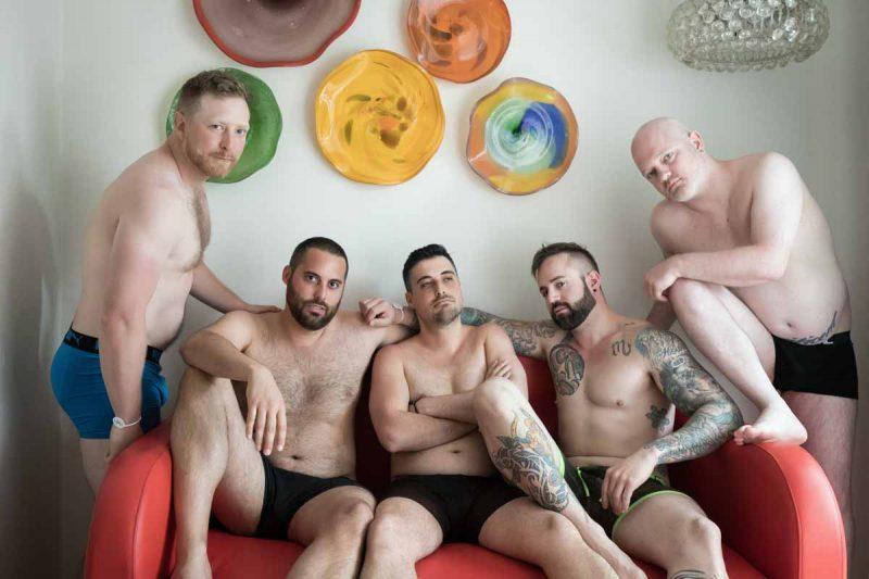 Groomsmen wearing boxers during preparation