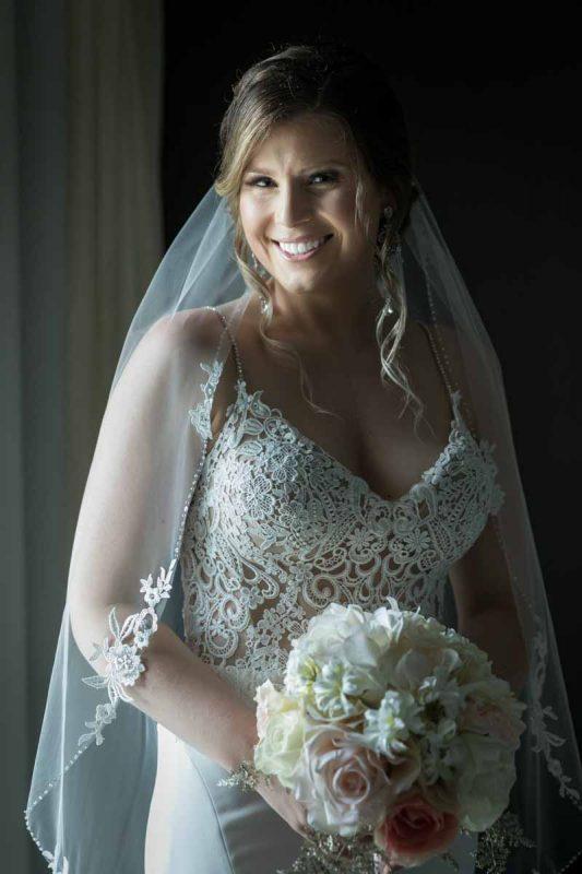 Bride portrait holding bouquet