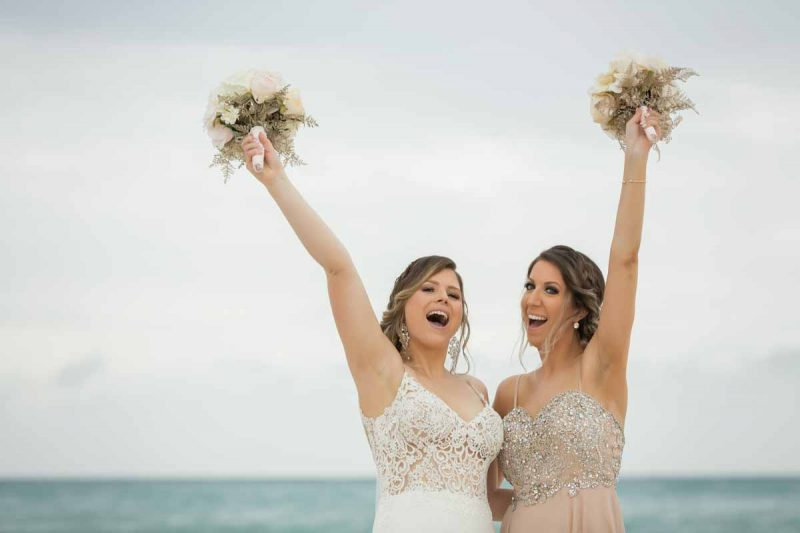 Bride with maid of honor Jamaica Royalton White Sands Montego Bay