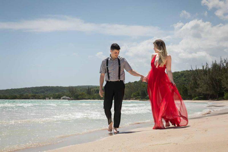 Destination wedding Jamaica Royalton White Sands Montego Bay with red dress