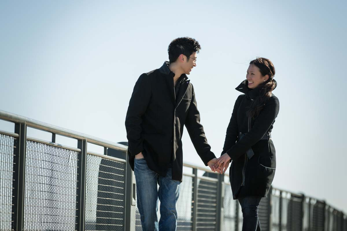 Old Port engagement walking on boardwalk