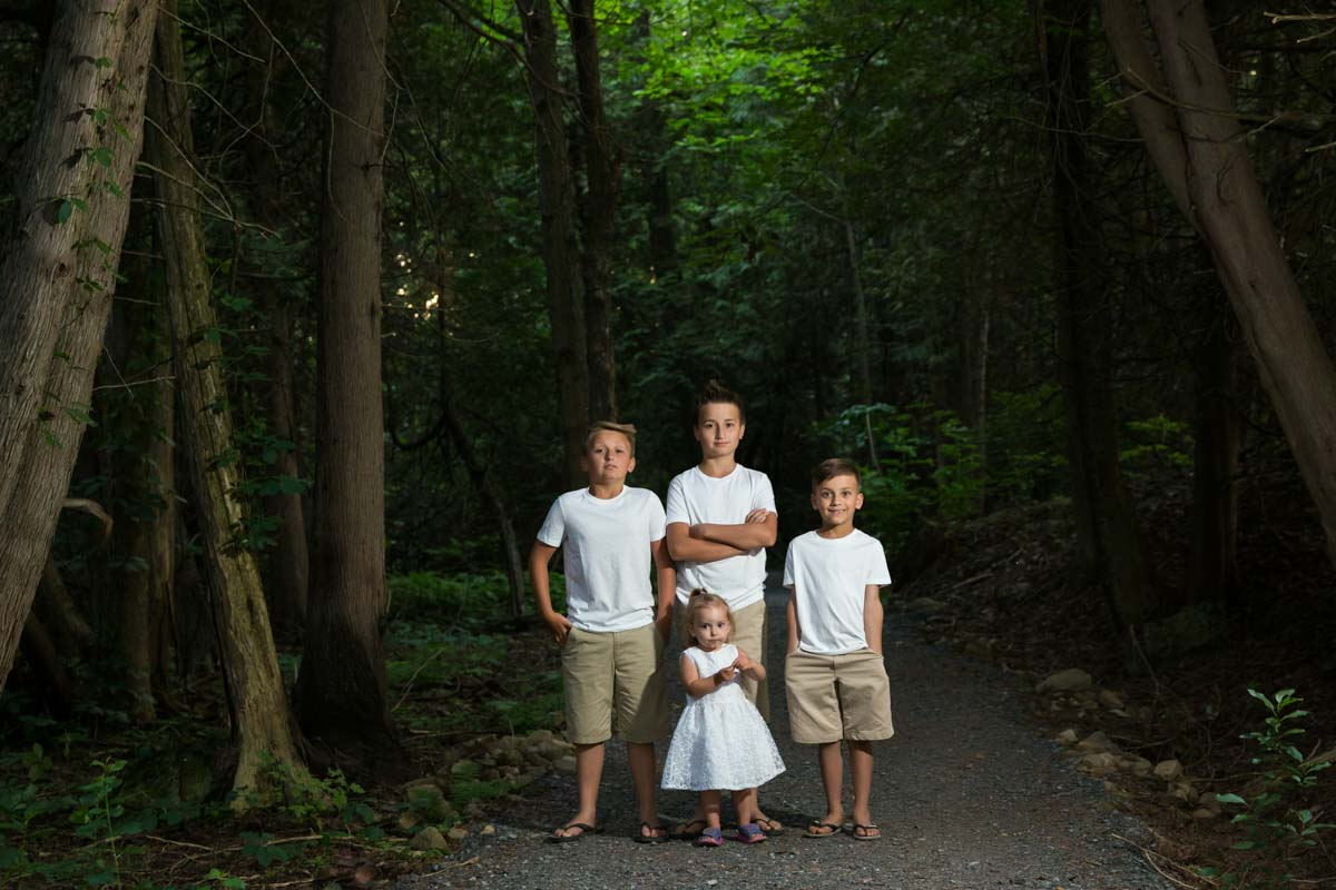 Kids in forest at night