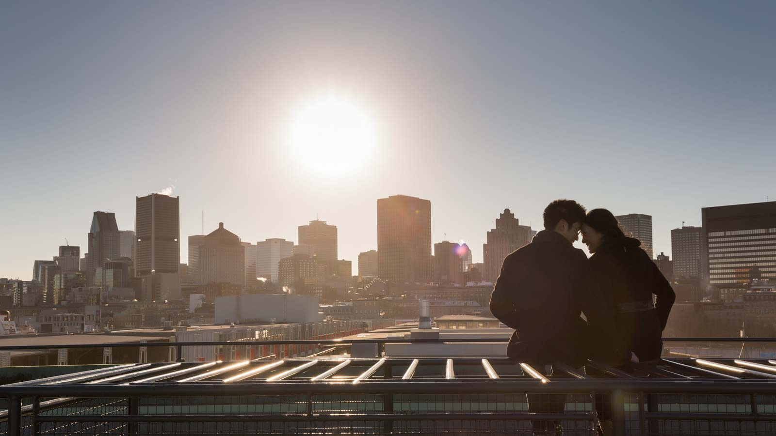 Old Port engagement seeing Montreal downtown skyline
