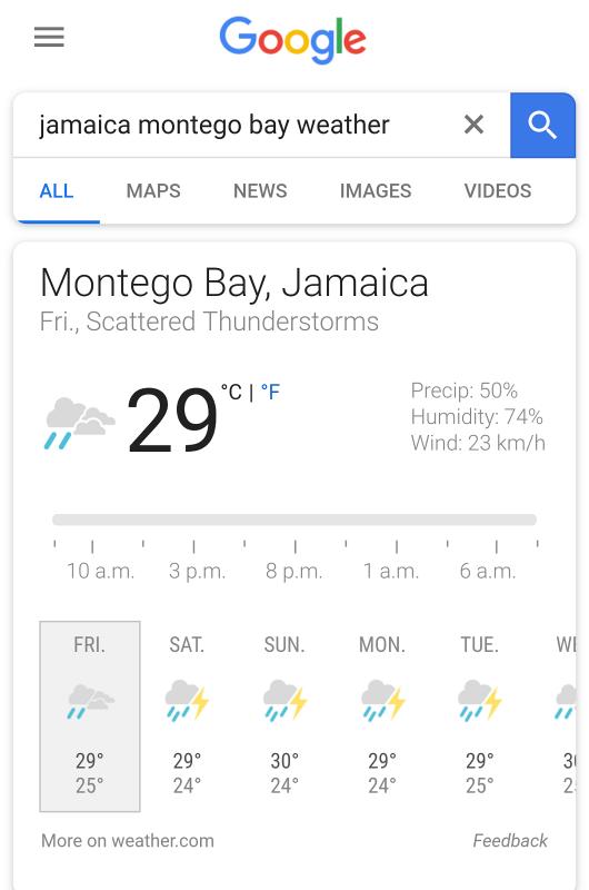 Jamaica Montego Bay weather forecase
