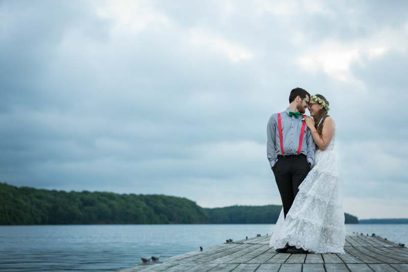 Bride and groom at the docks