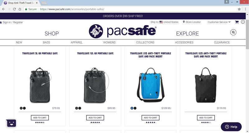 Pacsafe portable safe website