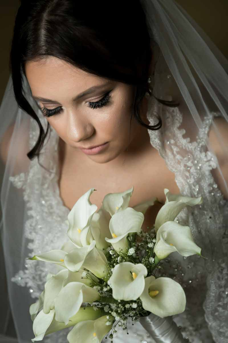 Bride holding bouquet