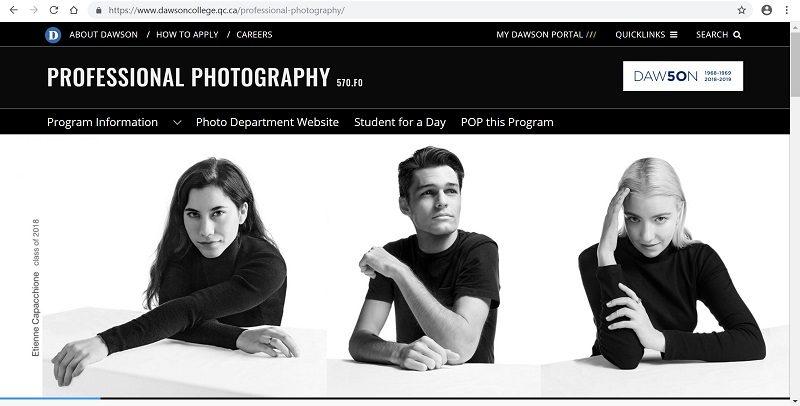 Dawson College Photography website screenshot
