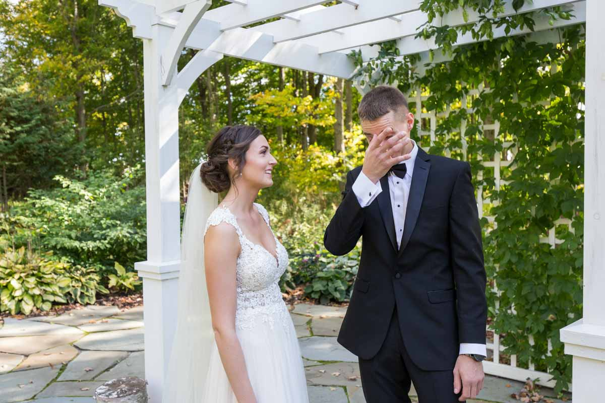 Groom crying when seeing bride for first time