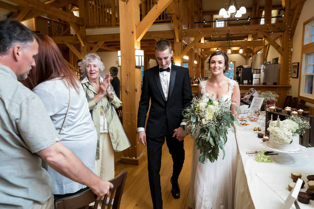 Newlyweds walking in at Temples Sugar Bush Ltd