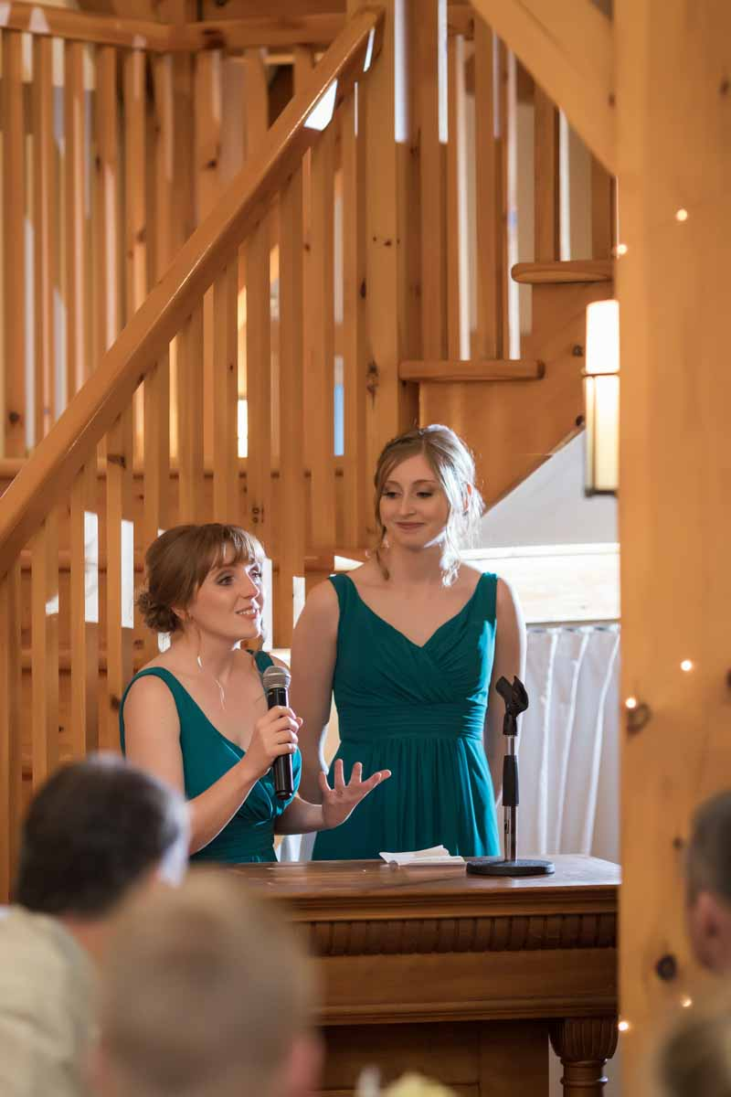 Bridesmaids speech at Temples Sugar Bush Ltd