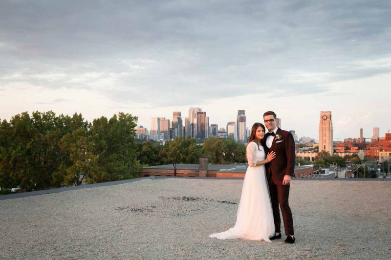 Newlyweds arriving onto rooftop of Entrepots Dominion
