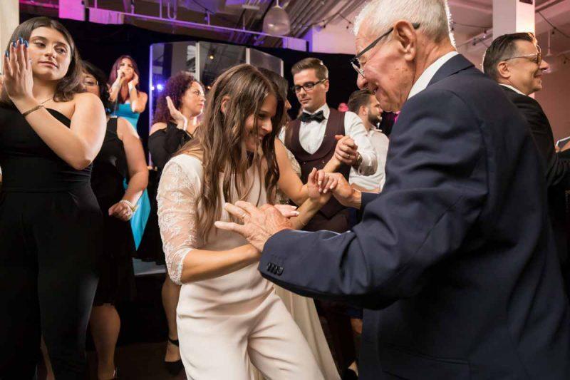 Bride and grandpa on dance floor