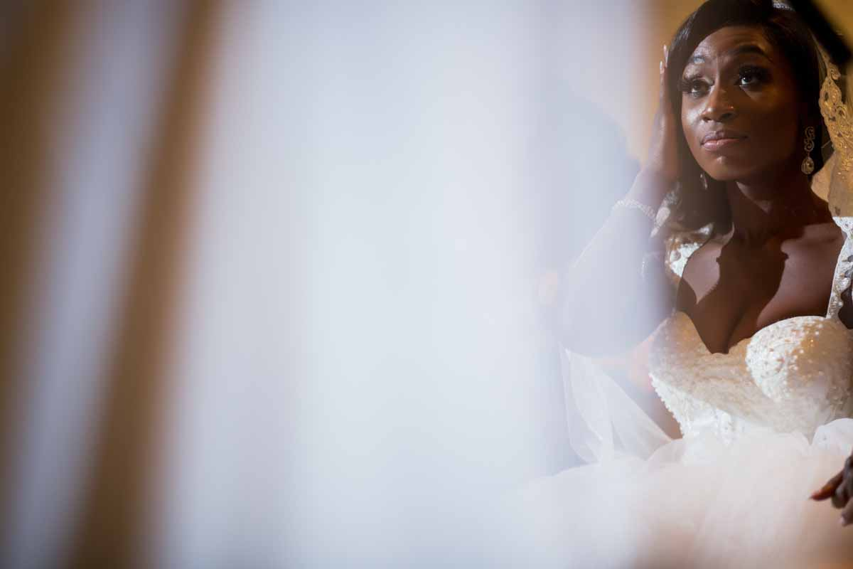 Bride listening to pastor's speech at La Plaza Montreal