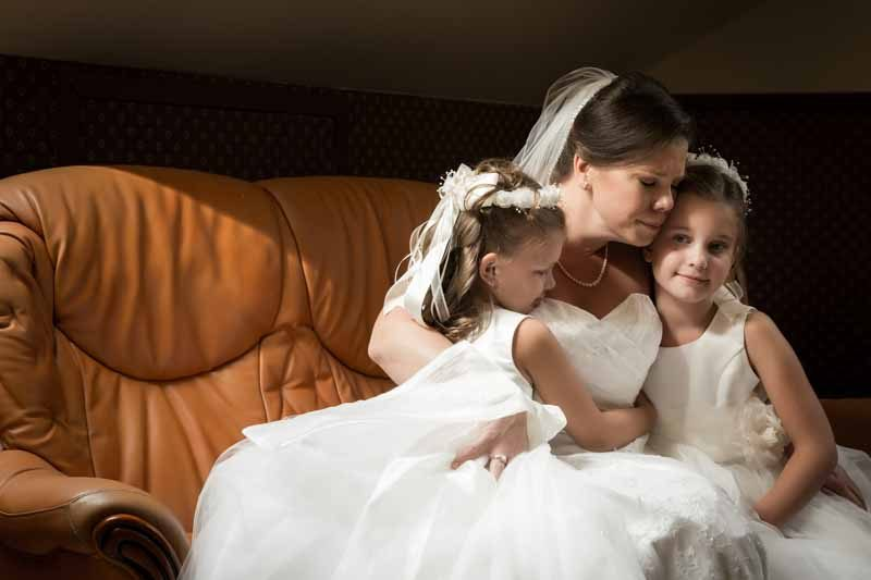 Bride with daughters at Manoir Grant