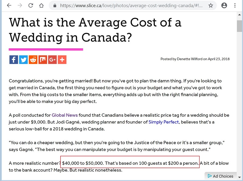 Slice website screenshot average wedding cost