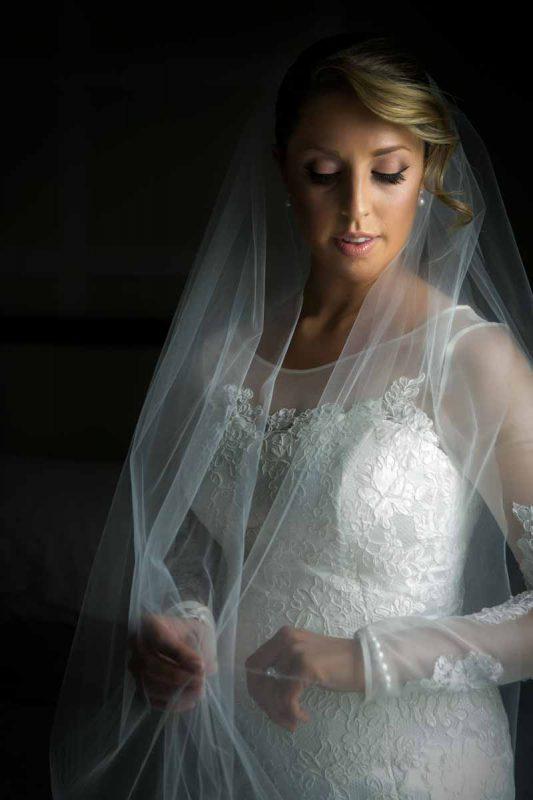 Pixelicious portrait bride holding veil