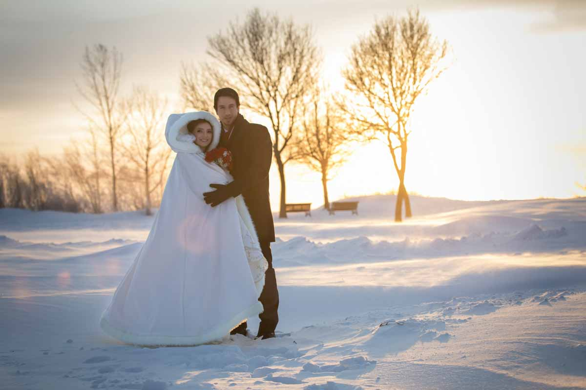 Winter wedding with snow background