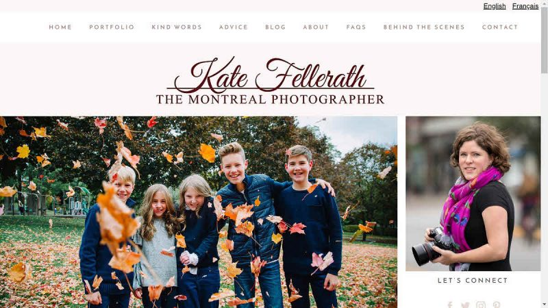 Screenshot of Kate Fellerath's homepage